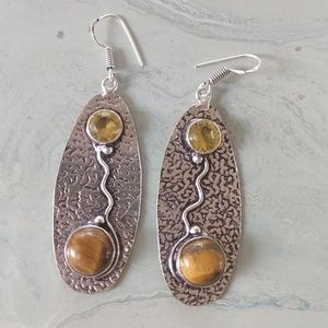 Jewelry - Tiger eye citrine hand crafted stamped 925 earring